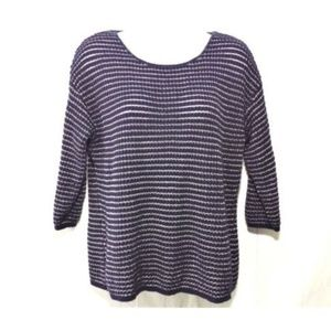Tops - Chicos Womens Sz M Blue Pullover Knit Top Shimmer